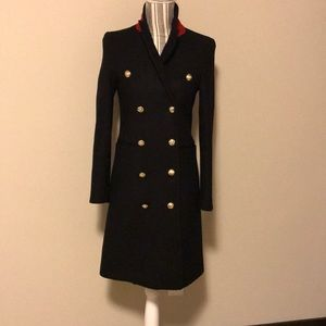 Zara double breasted military inspired wool coat